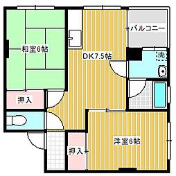 広島県呉市広中町の賃貸マンションの間取り