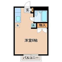 仙台市地下鉄東西線 国際センター駅 徒歩21分の賃貸アパート 2階ワンルームの間取り