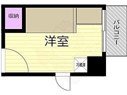 コミューズ新大阪 5階ワンルームの間取り