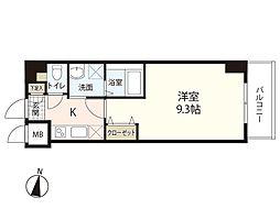 広島電鉄1系統 市役所前駅 徒歩3分の賃貸マンション 9階1Kの間取り