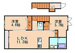 仮)篠栗町尾仲新築アパート[2階]の間取り