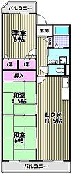 大阪府堺市北区東上野芝町2丁の賃貸マンションの間取り