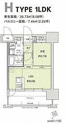 福岡市地下鉄空港線 赤坂駅 徒歩7分の賃貸マンション 13階1LDKの間取り