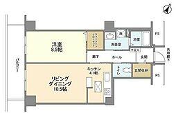 東京メトロ半蔵門線 水天宮前駅 徒歩5分の賃貸マンション 6階1LDKの間取り
