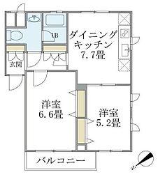 WELL House 東大井 1階2DKの間取り