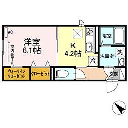 JR吉備線 大安寺駅 徒歩15分の賃貸アパート 1階1Kの間取り