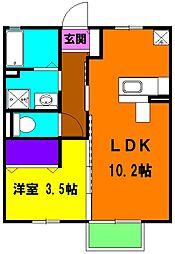 静岡県磐田市西貝塚の賃貸アパートの間取り