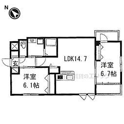 仮)京都市右京区西院西田町新築マンション 3階2LDKの間取り