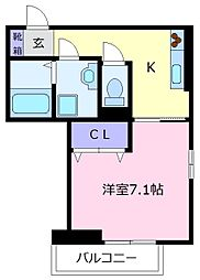Osaka Metro御堂筋線 北花田駅 徒歩4分の賃貸アパート 3階1Kの間取り