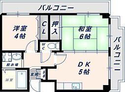 フェリーチェ深江橋 3階2DKの間取り