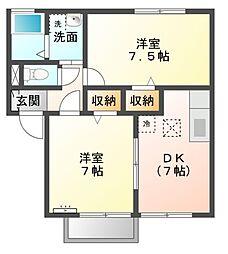 三重県松阪市甚目町の賃貸アパートの間取り