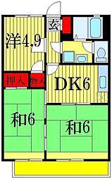 千葉県船橋市田喜野井7丁目の賃貸アパートの間取り