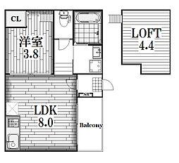 グランディII[2階]の間取り