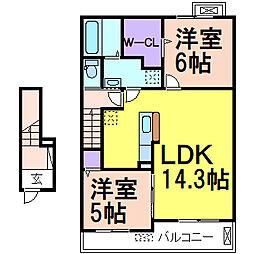 スカイノート・イースト 2階2LDKの間取り