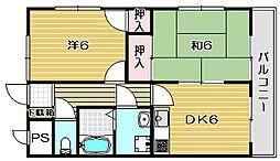 大阪府高槻市城南町2丁目の賃貸マンションの間取り