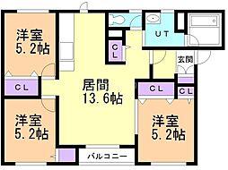 札幌市営東西線 西18丁目駅 徒歩18分の賃貸アパート 1階3LDKの間取り