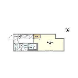 東急目黒線 西小山駅 徒歩7分の賃貸マンション 1階1Kの間取り