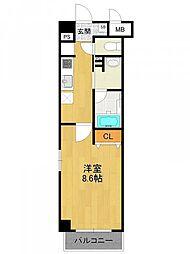 阪神本線 西宮駅 徒歩4分の賃貸マンション 5階1Kの間取り
