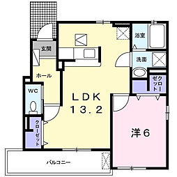 東京都八王子市寺田町の賃貸アパートの間取り