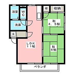 愛知県小牧市新町2丁目の賃貸アパートの間取り