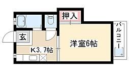 愛知県名古屋市天白区元植田1丁目の賃貸アパートの間取り