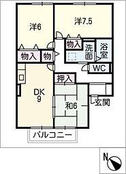 ロイヤル八幡 B[2階]の間取り