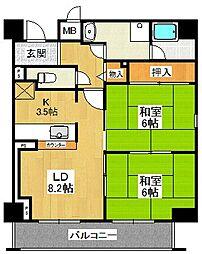 兵庫県尼崎市上ノ島町3丁目の賃貸マンションの間取り