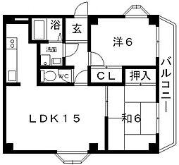 エスポワール藤ヶ丘[A102号室号室]の間取り