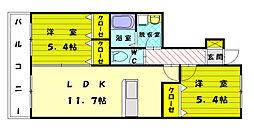 福岡県福岡市東区和白東4丁目の賃貸アパートの間取り