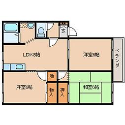 奈良県葛城市北花内の賃貸アパートの間取り