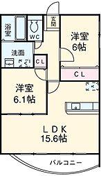 愛知県安城市相生町の賃貸マンションの間取り