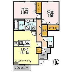 富山県富山市上冨居1丁目の賃貸アパートの間取り
