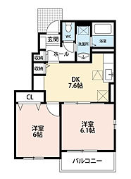福岡県北九州市八幡西区大字野面の賃貸アパートの間取り