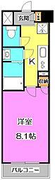 西武池袋線 練馬高野台駅 徒歩10分の賃貸マンション 6階1Kの間取り