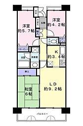 ファミール津田沼[8階号室]の間取り