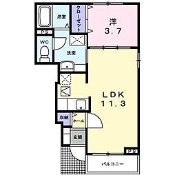神奈川県厚木市及川2の賃貸アパートの間取り