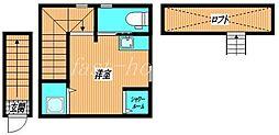 JR中央線 国分寺駅 徒歩7分の賃貸アパート 2階ワンルームの間取り