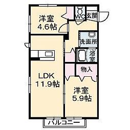 山口県下関市大坪本町の賃貸アパートの間取り