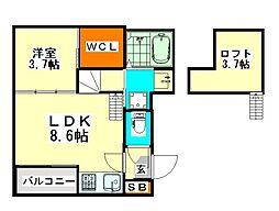 愛知県名古屋市西区城西4丁目の賃貸アパートの間取り