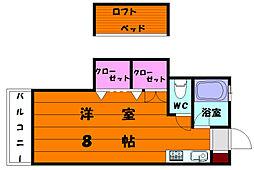 福岡県福岡市東区名島4丁目の賃貸アパートの間取り