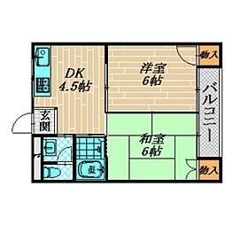 ハイツ東野[3階]の間取り