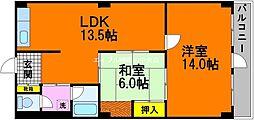 岡山県岡山市中区中納言町丁目なしの賃貸マンションの間取り