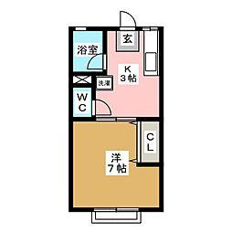 エーテルハイツ静[2階]の間取り