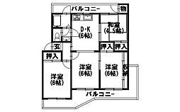 南円明寺ヶ丘団地[1-302号室]の間取り