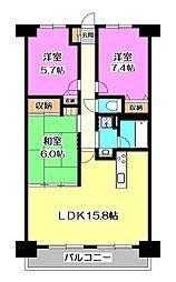 エクレール武蔵野ヒルズ[5階]の間取り
