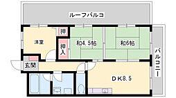 兵庫県加古川市平岡町新在家の賃貸マンションの間取り