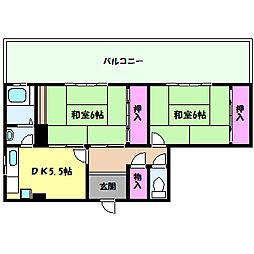 兵庫県神戸市灘区宮山町2丁目の賃貸マンションの間取り