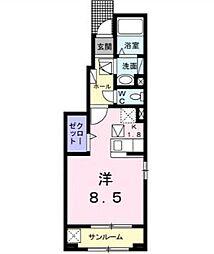 JR山形新幹線 山形駅 バス13分 南館バス停下車 徒歩4分の賃貸アパート 1階ワンルームの間取り