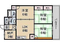 第1浦濱ビレッジ[6階]の間取り