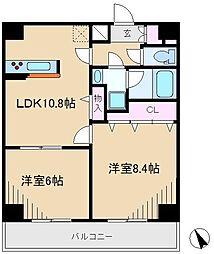 JR東北本線 尾久駅 徒歩4分の賃貸マンション 3階2LDKの間取り